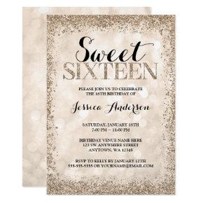 Champagne Faux Glitter Sweet 16 Birthday Invitation