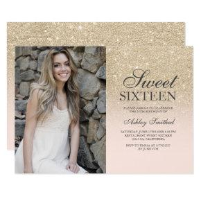 Champagne glitter blush pink ombre photo Sweet 16 Invitation