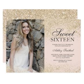 Champagne glitter chic blush pink photo Sweet 16 Invitation
