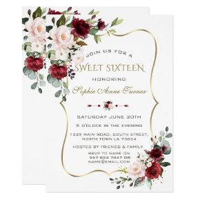 Charm Watercolour Blush Floral Gold Frame Sweet 16 Invitation