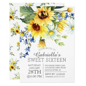 Cheerful Yellow Sunflowers Sweet Sixteen Party Invitation