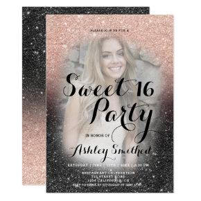 Chic black rose gold glitter ombre photo Sweet 16 Invitation