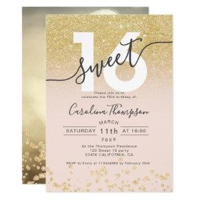 Chic gold glitter ombre blush Sweet 16 photo Invitation