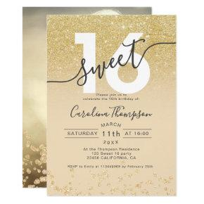 Chic gold glitter ombre ivory Sweet 16 photo Invitation