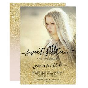 Chic gold typography pink ombre Sweet 16 photo Invitation