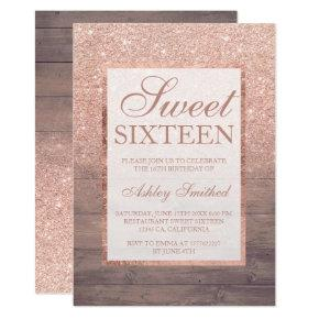 Chic rose gold glitter rustic wood girly Sweet 16 Invitation