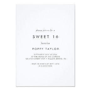 Chic Typography Sweet 16  Birthday Invitation