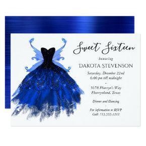 Cool Blue Grunge Glam Gown and Fairy Wing Sweet 16 Invitation