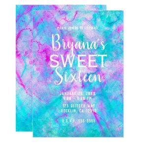Cotton Candy Pink & Blue Watercolor Sweet 16 Party Invitation