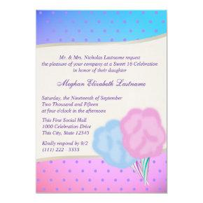 Cotton Candy Sweet Sixteen Birthday Invitation