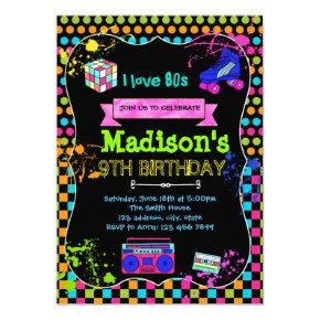 Cute 80s party birthday invitation