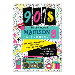 Cute 90s theme party birthday invitation