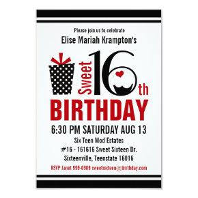 Cute Cupcake Black and Red Sweet 16 Birthday Invitation