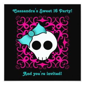 Cute gothic skull sweet 16 birthday party invitation