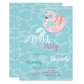 Cute Mermaid Pool Birthday Party Invitation