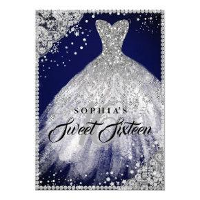 Diamond Lace Sparkle Gown Navy Silver Sweet 16 Invitation