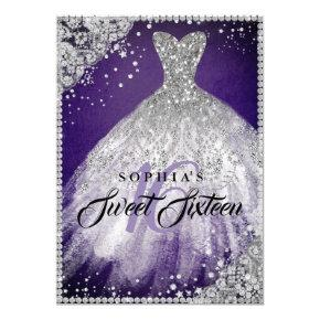 Diamond Lace Sparkle Gown Purple Silver Sweet 16 Invitation