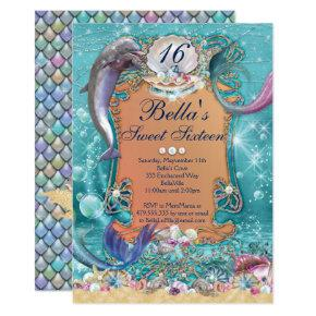 Dolphin Mermaid Under the Sea Party Invitations