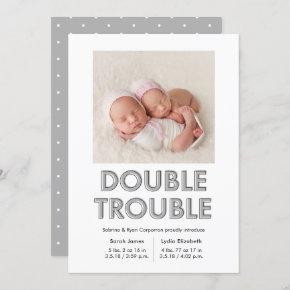 Double Trouble Grey Twins Baby Announcement