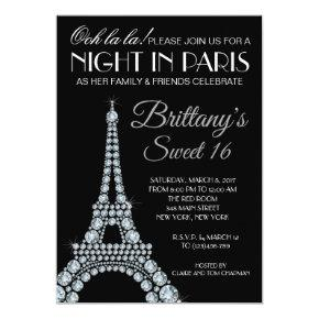 Eiffel Tower Paris Custom Sweet 16 Invitation