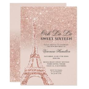 Eiffel tower rose gold glitter pink Sweet 16 Invitation