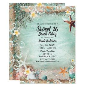 Elegant Beach Sea Starfish & Pearls Sweet 16 Party Invitation