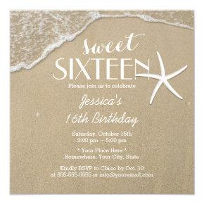 Elegant Beach & Starfish Sweet Sixteen Invitation