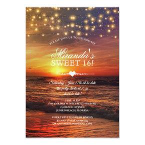 Elegant Beach String Lights Summer Sweet Sixteen Invitation