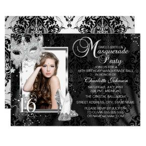Elegant Mask & Heels Masquerade Photo Sweet 16 Invitation