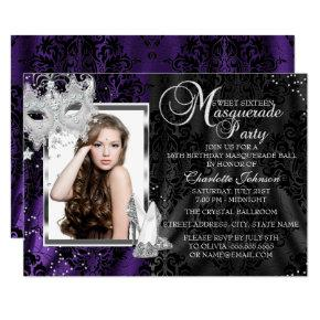 Elegant Mask & Heels Purple Masquerade Sweet 16 Invitation