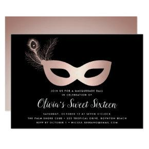 Elegant Rose Gold Masquerade Theme Sweet Sixteen Invitation