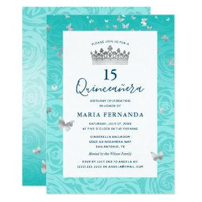 Elegant Rose Teal Silver Crown Floral Quinceanera Invitation
