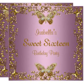 Elegant Sweet Sixteen Birthday Pink Gold Butterfly Invitation