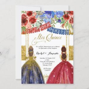 Elegant Twin Quinceañera Invitation Floral Gold