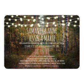 Enchanted Forest Path TWINS Sweet 16 Celebration Invitation