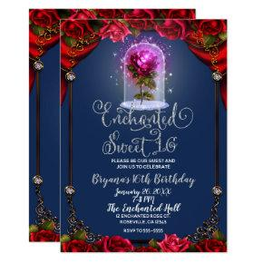 Enchanted Red Rose Beauty Birthday Party Sweet 16 Invitation
