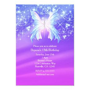 Fantasy Butterfly Pink & Purple Sparkle Party Invitation