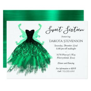 Fantasy Green Fancy Gown with Pixie Wing Sweet 16 Invitation