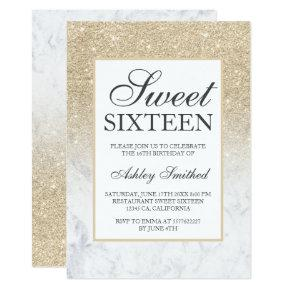 Faux champagne glitter marble chic Sweet 16 Invitation