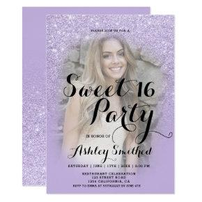 Faux purple lavender glitter ombre photo Sweet 16 Invitation