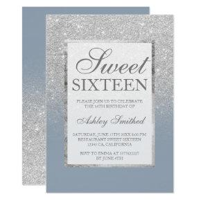 Faux silver glitter blue elegant chic Sweet 16 Invitation