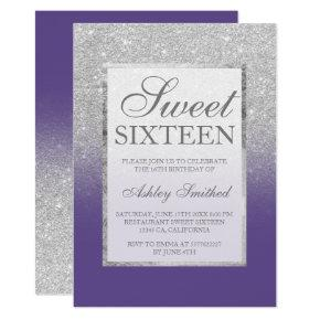 Faux silver glitter violet elegant chic Sweet 16 Invitation