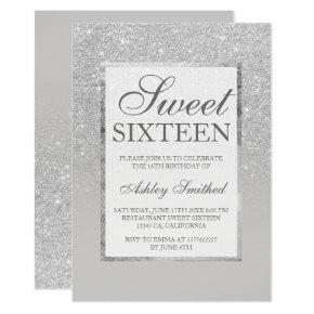 Faux silver gray glitter elegant chic Sweet 16 Invitation