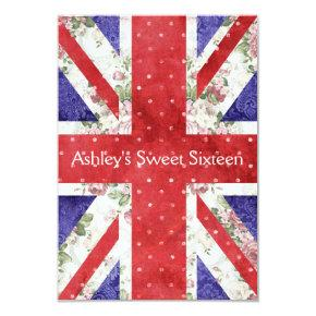 Floral UK Union Jack Flag Polka Dots Sweet 16 Invitation