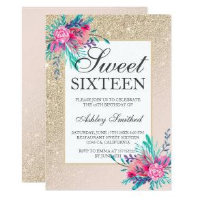 floral watercolor Champagne glitter chic Sweet 16 Invitation