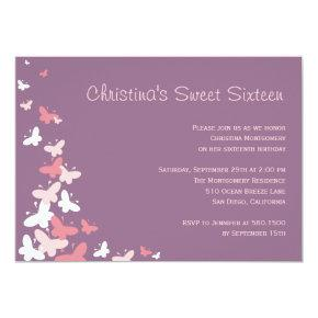 Fluttering Butterflies Birthday Party Invitation