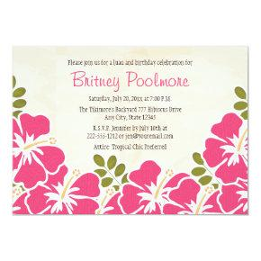 Fuchsia Hibiscus Hawaiian Birthday Party Invitation