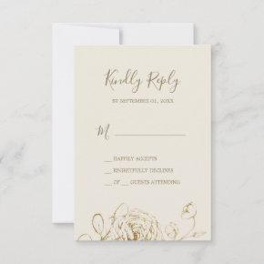 Gilded Floral | Cream and Gold Simple RSVP Card