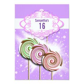 Girls birthday candy sweet 16 invitation