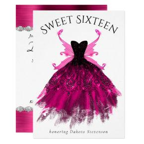 Glam Rock Pink Grunge Gown and Fairy Wing Sweet 16 Invitation